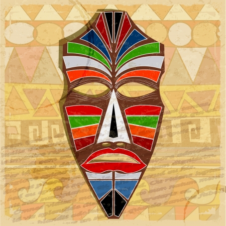 wood carving: Ethnic mask on vintage background
