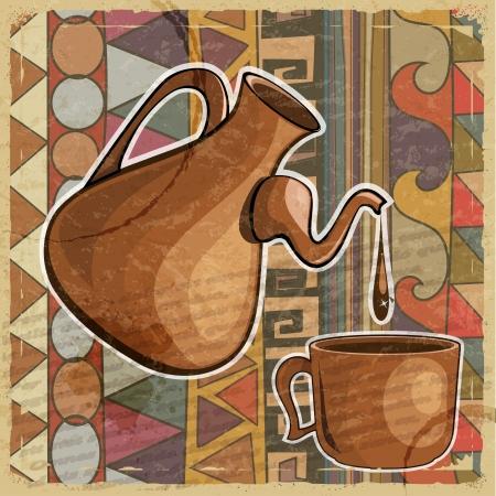 민족 패턴에 커피 냄비와 커피 한잔