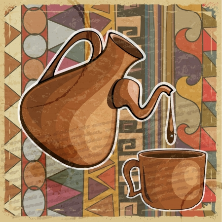 Coffee pot and cup of coffee on the ethnic patterns