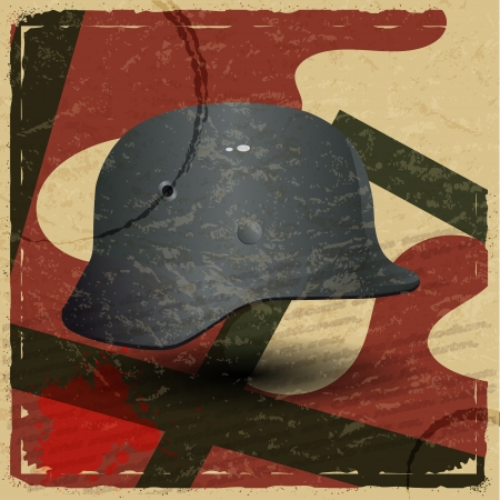fascism: Vintage card with a picture of the fascist military helmet