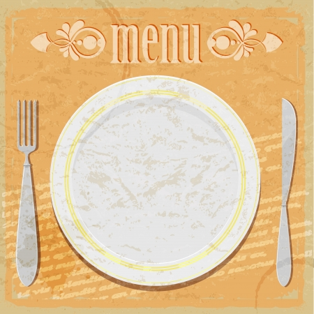 Vintage card - the restaurant menu - featuring plates, knife and fork Vector