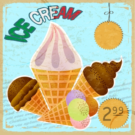 Vintage card with a picture of ice cream Stock Vector - 17900208