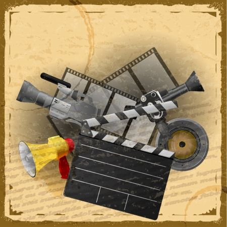 Vintage card with a set of objects for cinematography with elements of grunge Vector