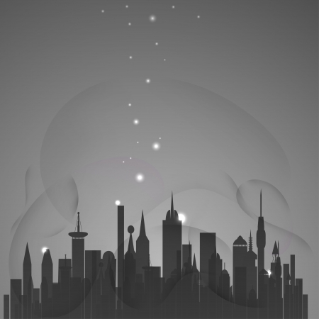 Abstract city with stars Stock Vector - 17900238