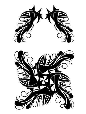 Elegant Black-white Tribal Tattoo Design Stock Vector - 17900213