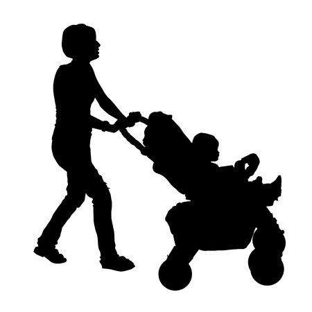 Silhouette of a mother with a stroller and a baby Stock Vector - 17900209