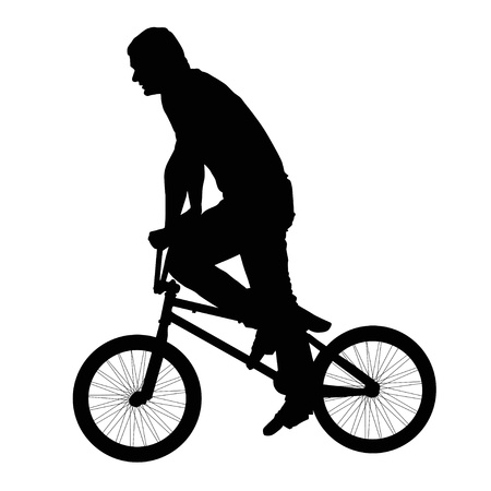 one wheel bike: Black silhouette of a young man on a bike Illustration