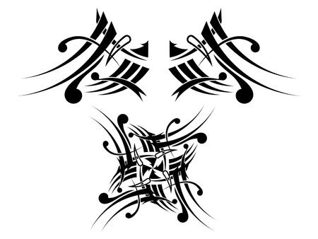 Black-white Tribal Tattoo Design Stock Vector - 17900217