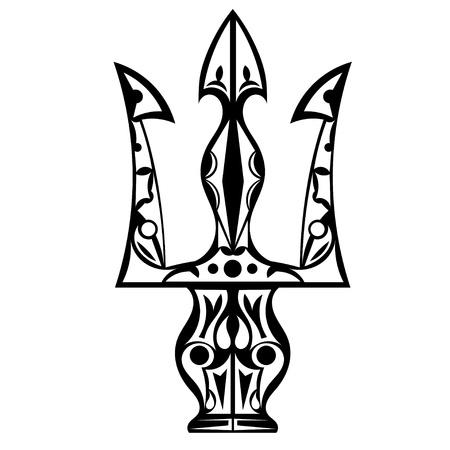 Noir et blanc tatouage trident