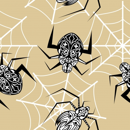 Seamless texture with a spider tattoo Stock Vector - 18026500