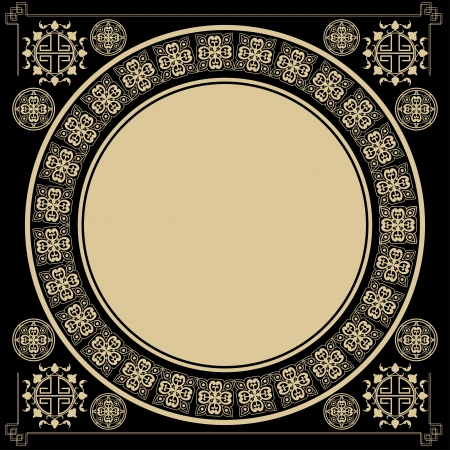 gothic design: Vintage square background with round Gothic design elements