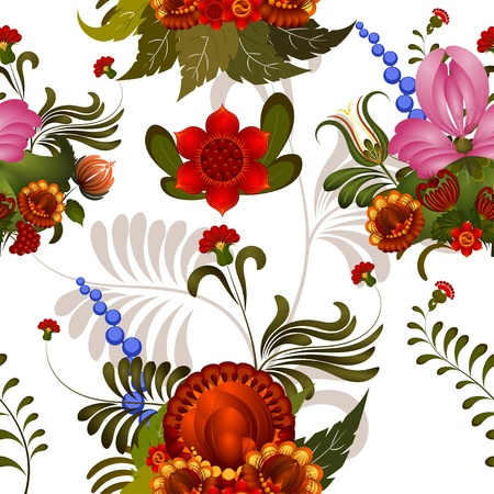 Seamless floral pattern with elements of Petrikovs painting Vector