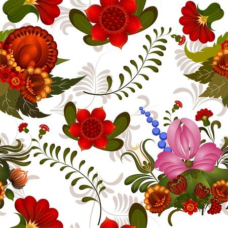 petrikov painting: Seamless floral pattern