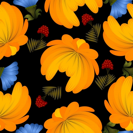 Seamless texture with yellow flowers on a black background Vector