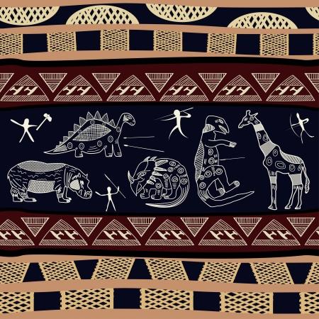 этнический: Бесшовные текстуры с силуэтами динозавров, бегемота и жирафа
