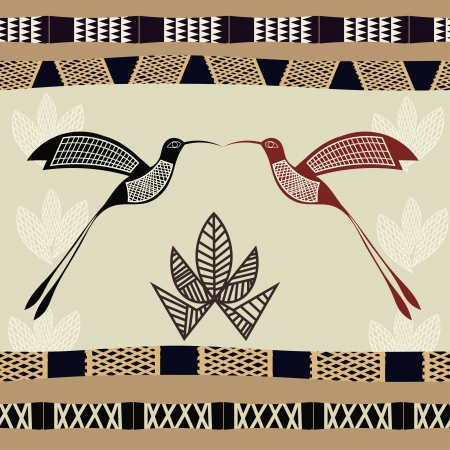 Abstract seamless texture with the image of bamboo and hummingbirds Stock Vector - 18418223