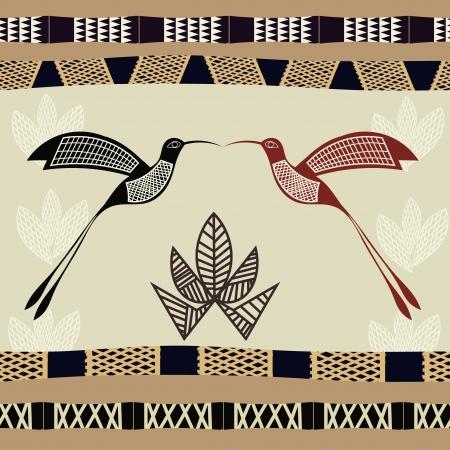 ilustraciones africanas: Resumen textura perfecta con la imagen de bamb� y los colibr�es Vectores