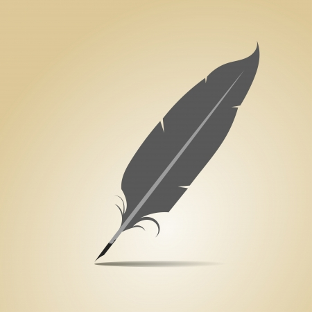 Feather on a yellow background Stock Vector - 18418206