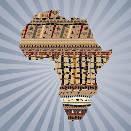 continente africano: Silueta abstracta de África con pinturas tradicionales Vectores