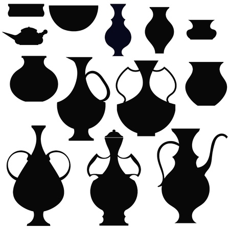 Black silhouettes pots Stock Vector - 18418207