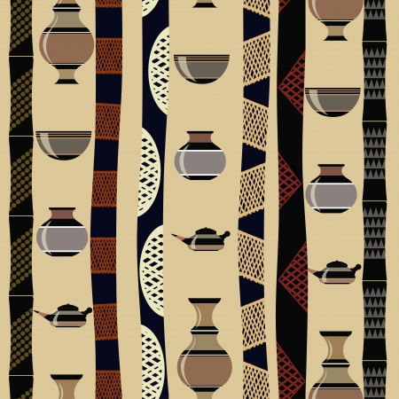 african culture: Tribal seamless texture with utensils
