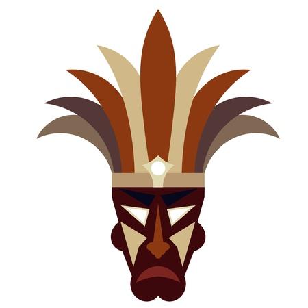 maschera tribale: Maschera tribale su sfondo bianco Vettoriali