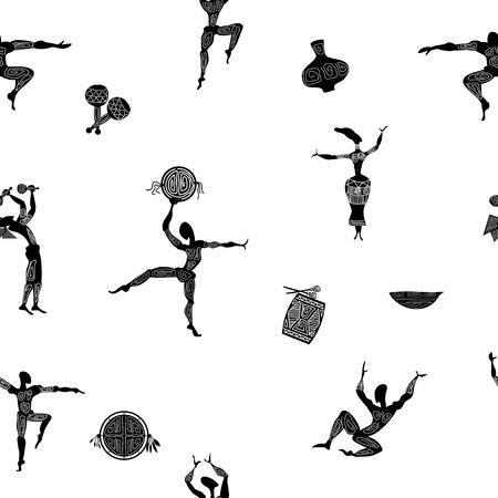 danza africana: Seamless con figure di gente primitiva