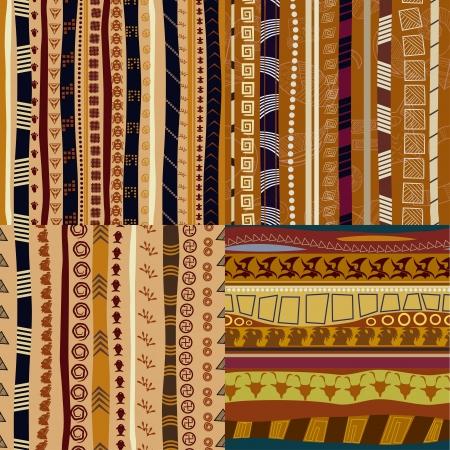 色パターンの原始的な部族のパターンのセット  イラスト・ベクター素材