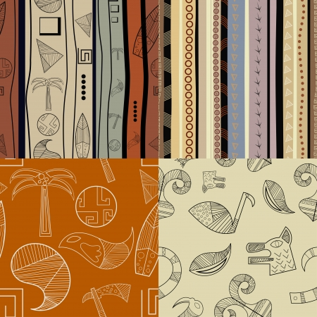 Set of  fullcolor patterns primitive tribal pattern Vector