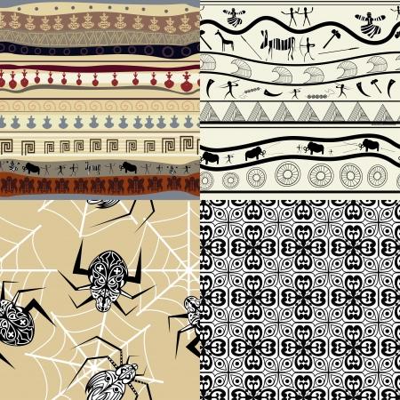 arte africano: Establezca un patrón de patrones tribales Vectores