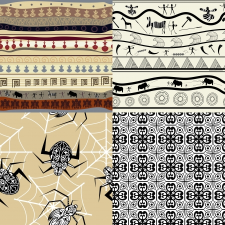 Set of a patterns tribal pattern Vector