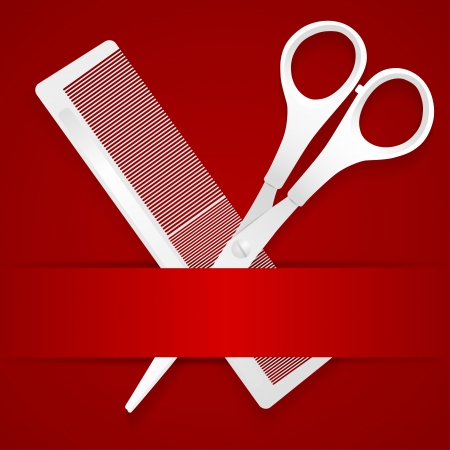 hairdresser shop: Scissors and comb - advertising barbershop - on a red background