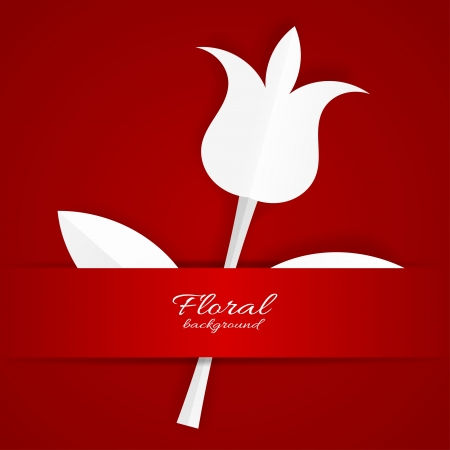 White paper Tulip on red background Vector