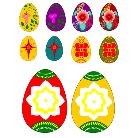 Set of Easter eggs with ornamental painting Vector