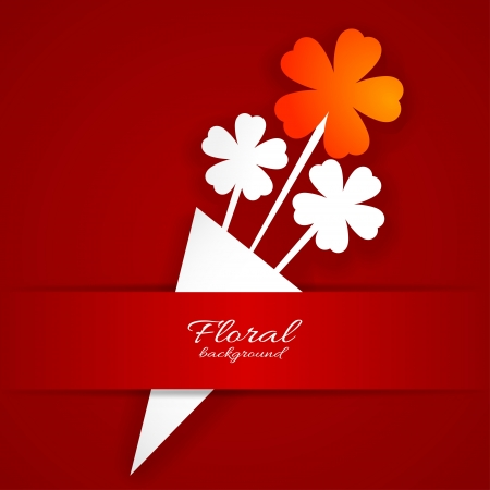 single flowers: Abstract paper flower on a red background