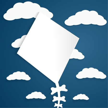 Kite on a blue background with clouds Stock Vector - 18695953