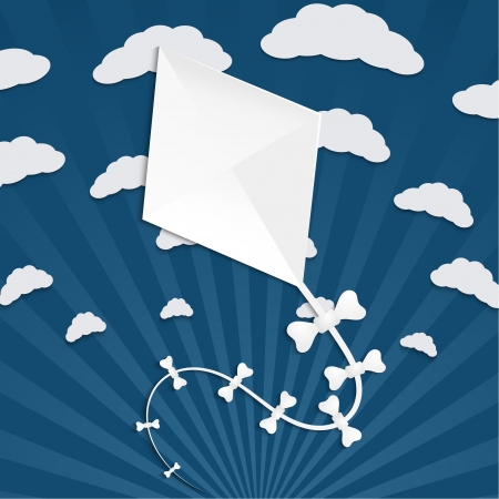 paper kite: Kite on a blue background with clouds and rays