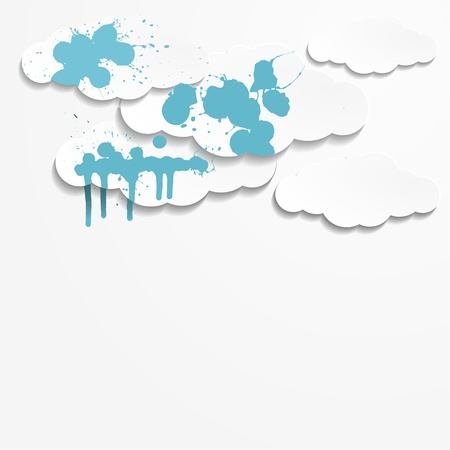 Abstract background with paper clouds and spot paint Stock Vector - 18695957