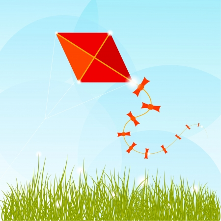 Summer background with grass, clouds and a red kite  Vector