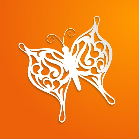 Abstract orange background with a paper butterfly Stock Vector - 18695921