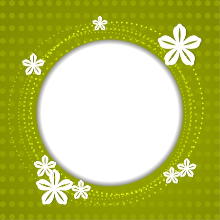 Green spring background with white flowers Vector