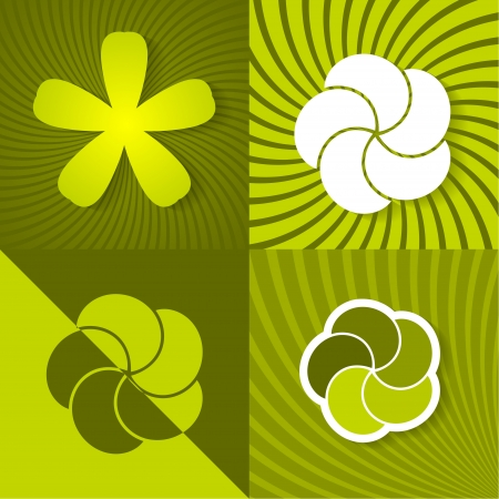 Set a green spring backgrounds with flowers Vector