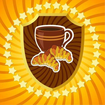 Shield with coffee and croissants. Vector
