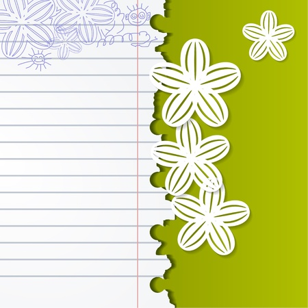 Abstract background with exercise books and white flowers Vector