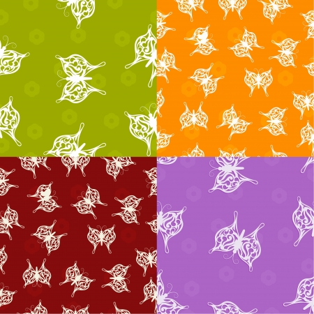A set of seamless textures with paper butterfly Stock Vector - 18937025