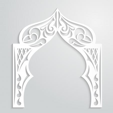 アジアン スタイルで用紙のアーチと抽象的な背景