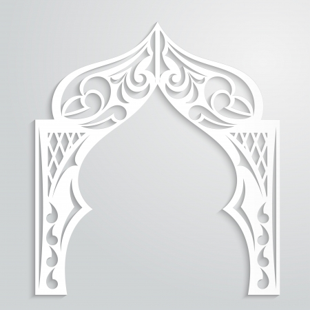 indian art: Abstract background with paper arch in the Asian style Illustration