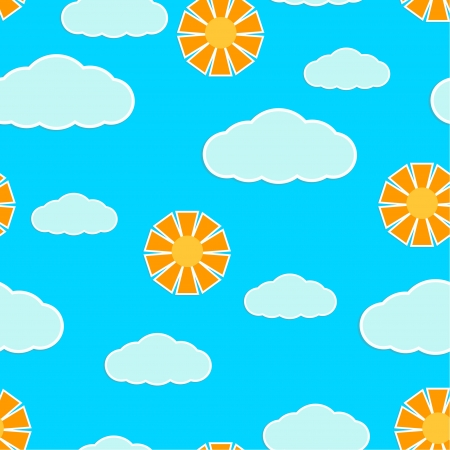 Seamless texture with clouds and sun Stock Vector - 18936950