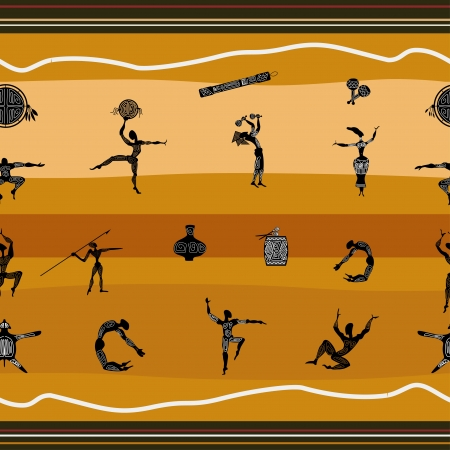 Seamless pattern with figures of primitive people