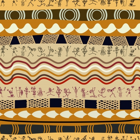 Seamless  tribal pattern with silhouettes of the primitive people  Vector